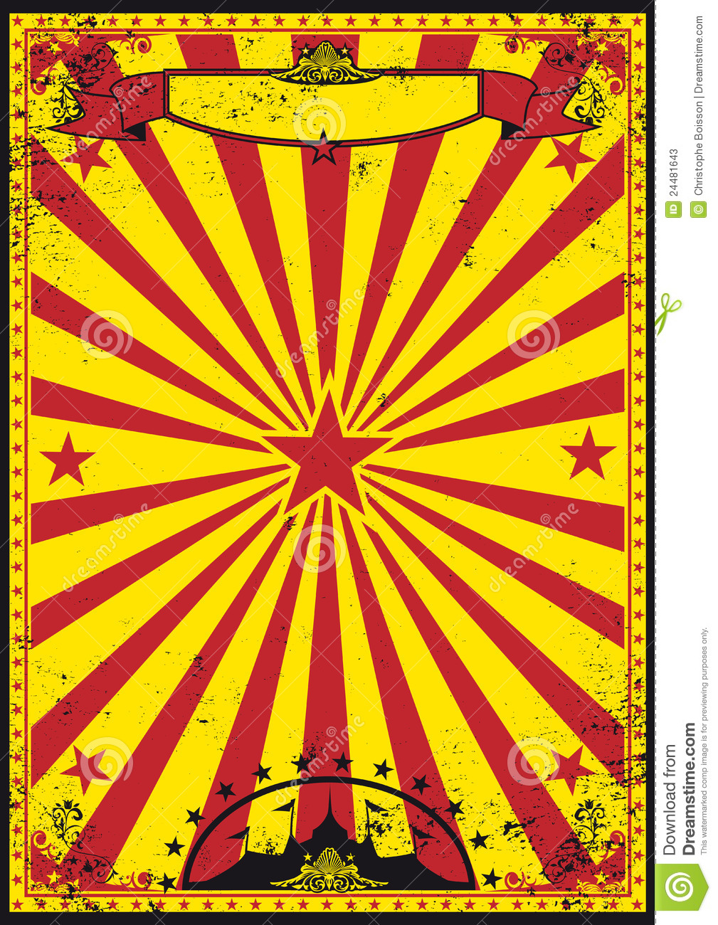 Vintage Circus Poster Background Red And Yellow Retro C...