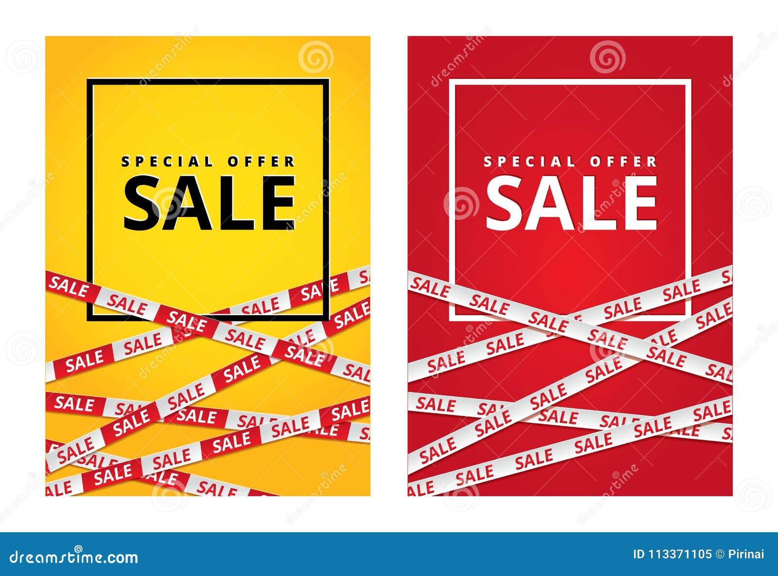 98bd5b4882 Red Yellow Sale Tape Ribbon Card Stock Illustration - Illustration ...
