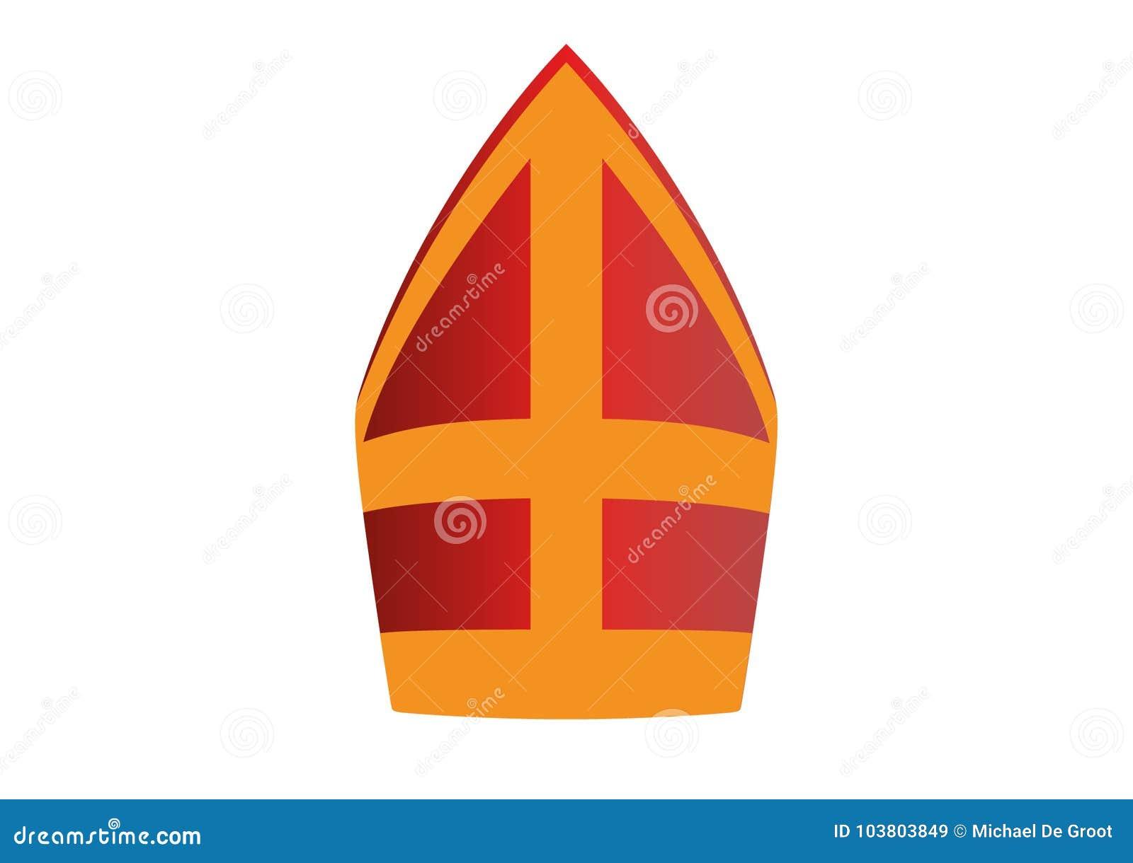691d4ed84fc23 Sinterklaas Hat Illustration Red With Yellow Cross. Stock Vector ...