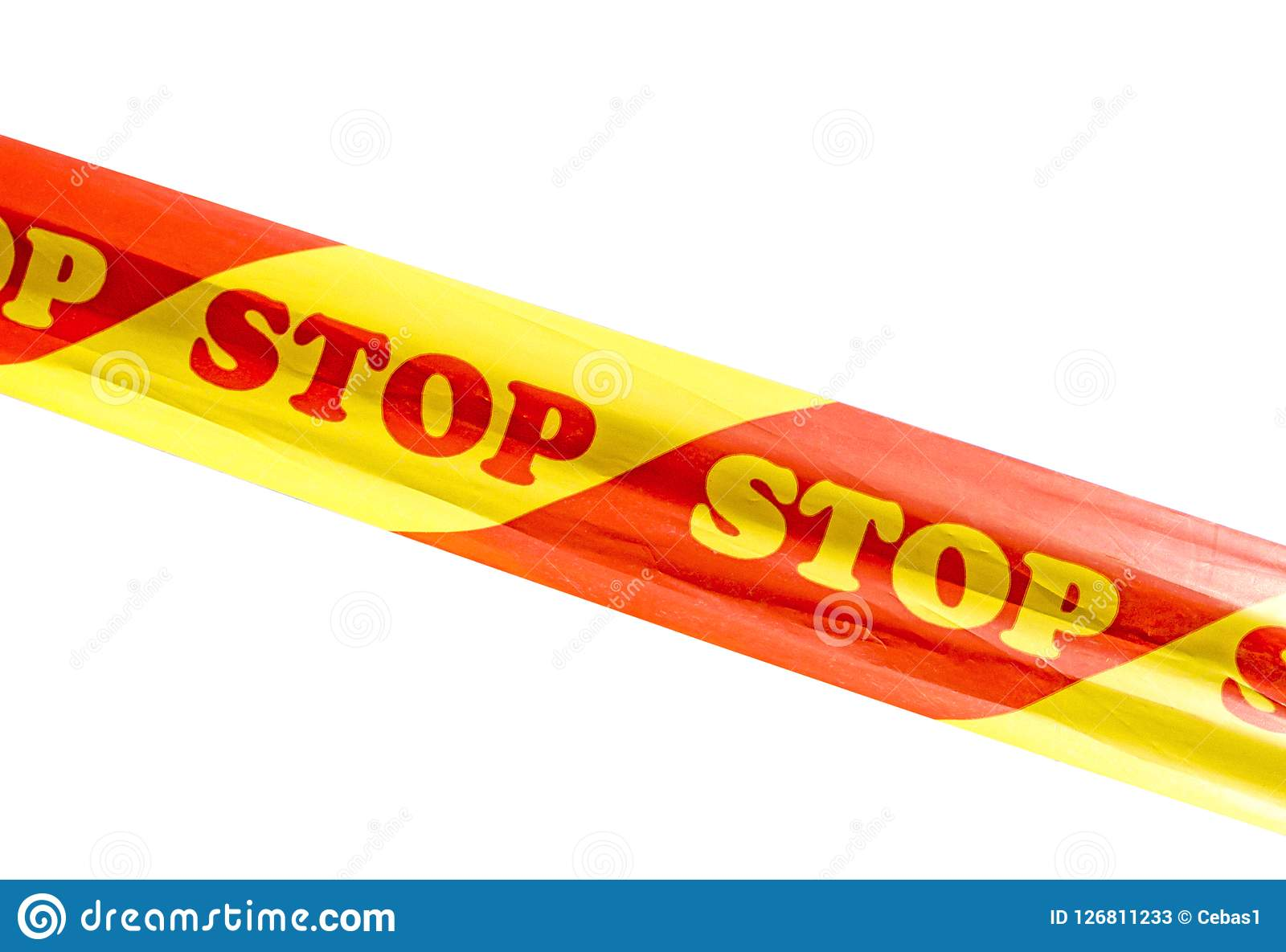 Warning tape with STOP sign isolated on white background