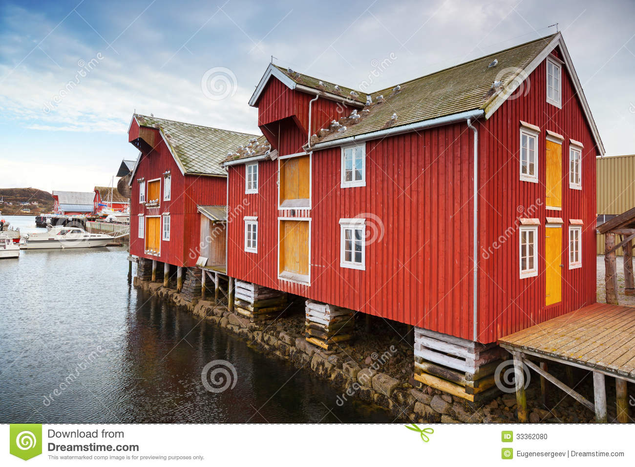 Red and yellow wooden houses in norway stock photo image for Norway wooden houses