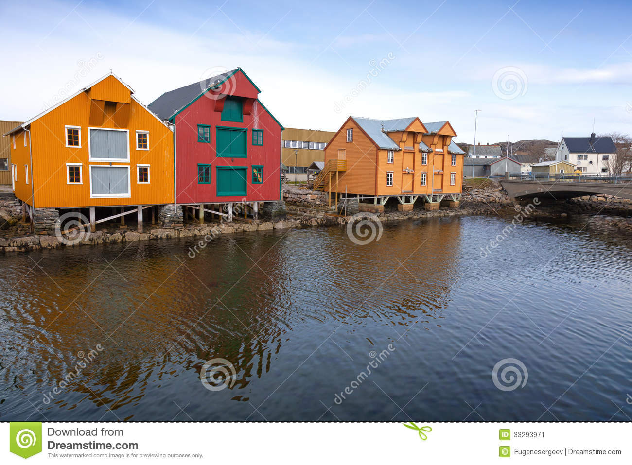 Red and yellow wooden houses in norway stock image image for Norway wooden houses