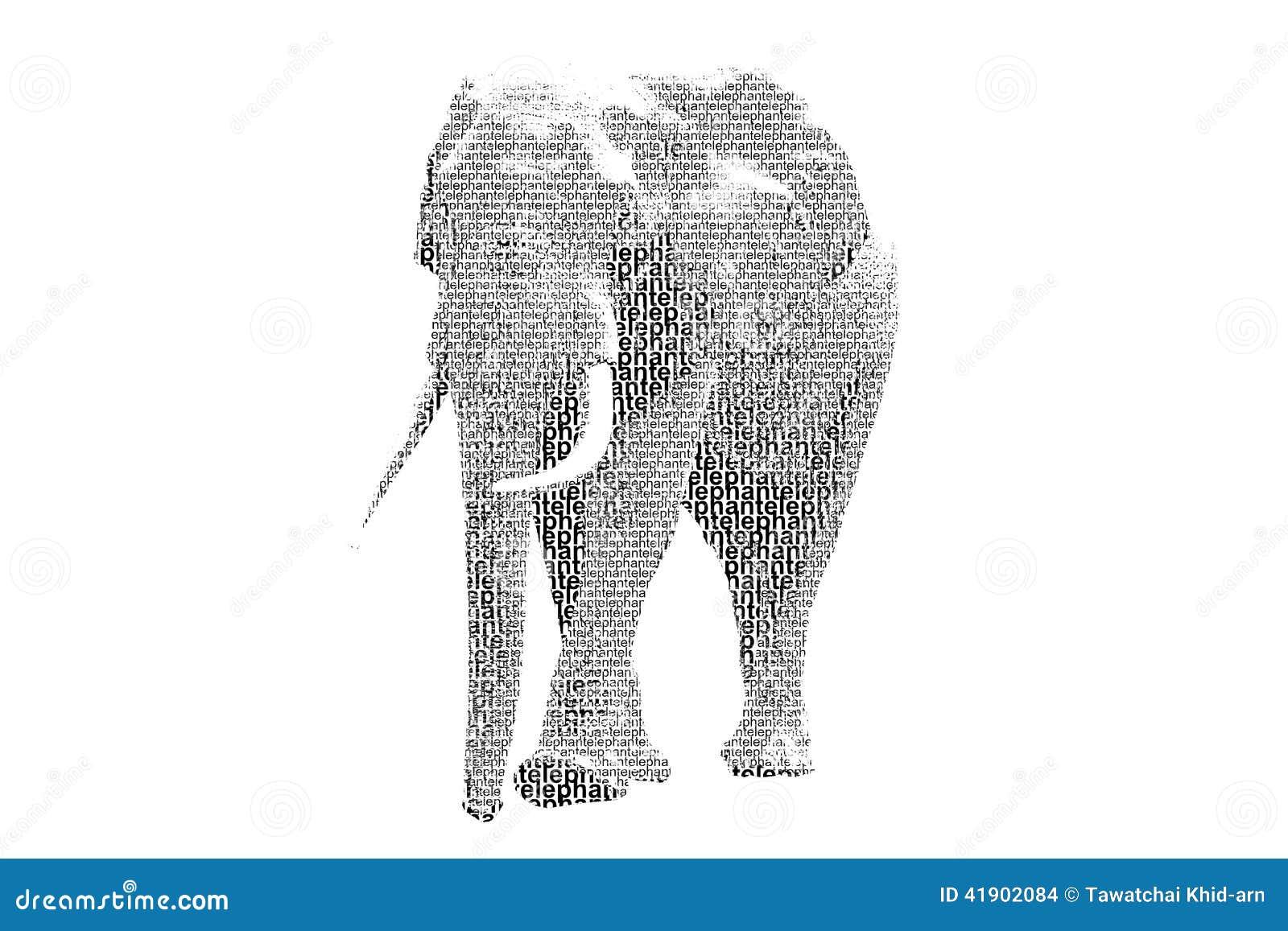 Redacte el elefante mezclado para ser figura del elefante, con el st de la tipografía
