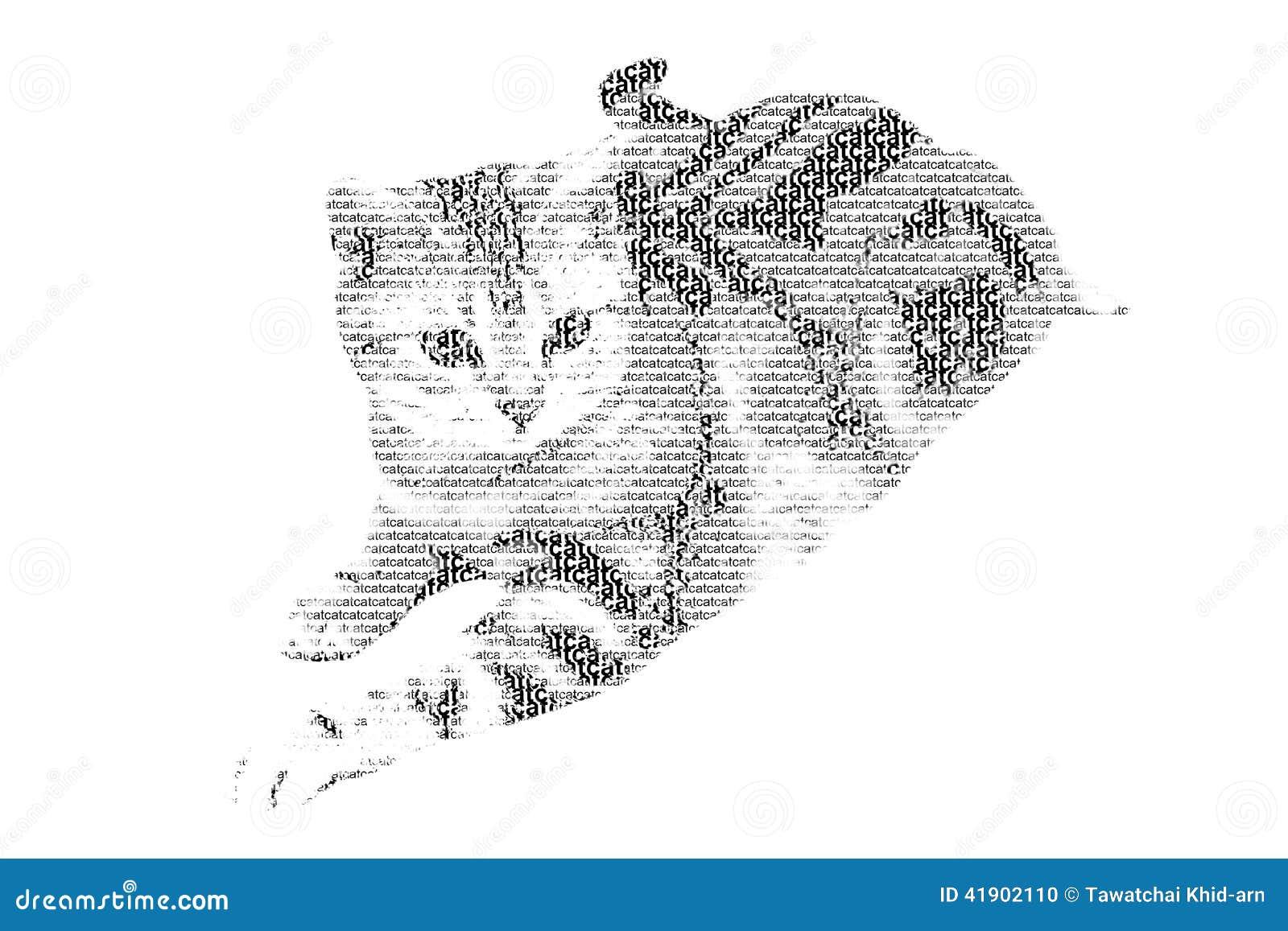 Redacte el gato mezclado para ser figura del gato, con estilo de la tipografía, isola