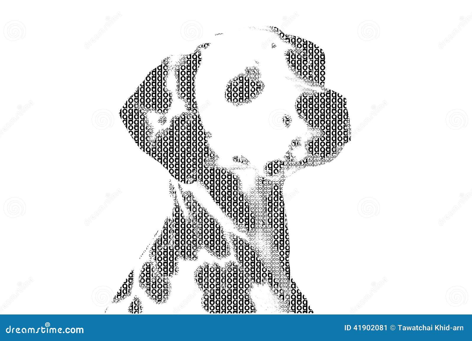 Redacte el perro mezclado para ser figura del perro, con estilo de la tipografía, isola