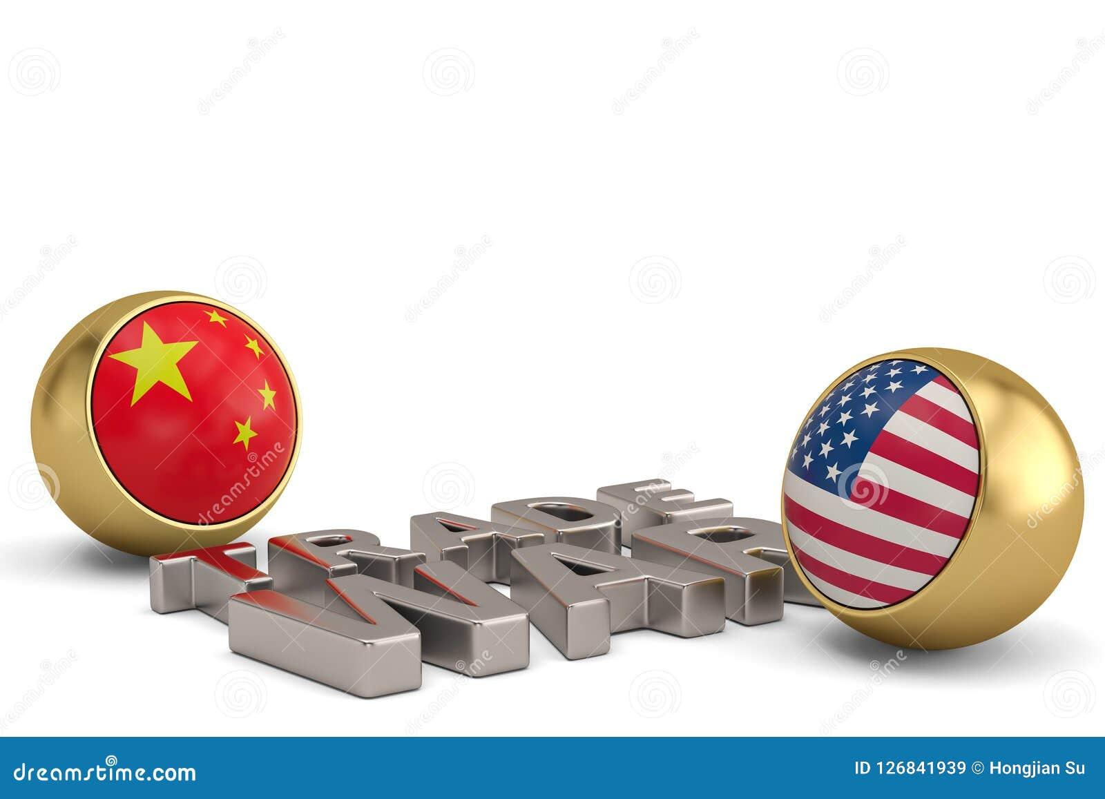 Redacte la guerra comercial con Estados Unidos y la bandera china aislados en w