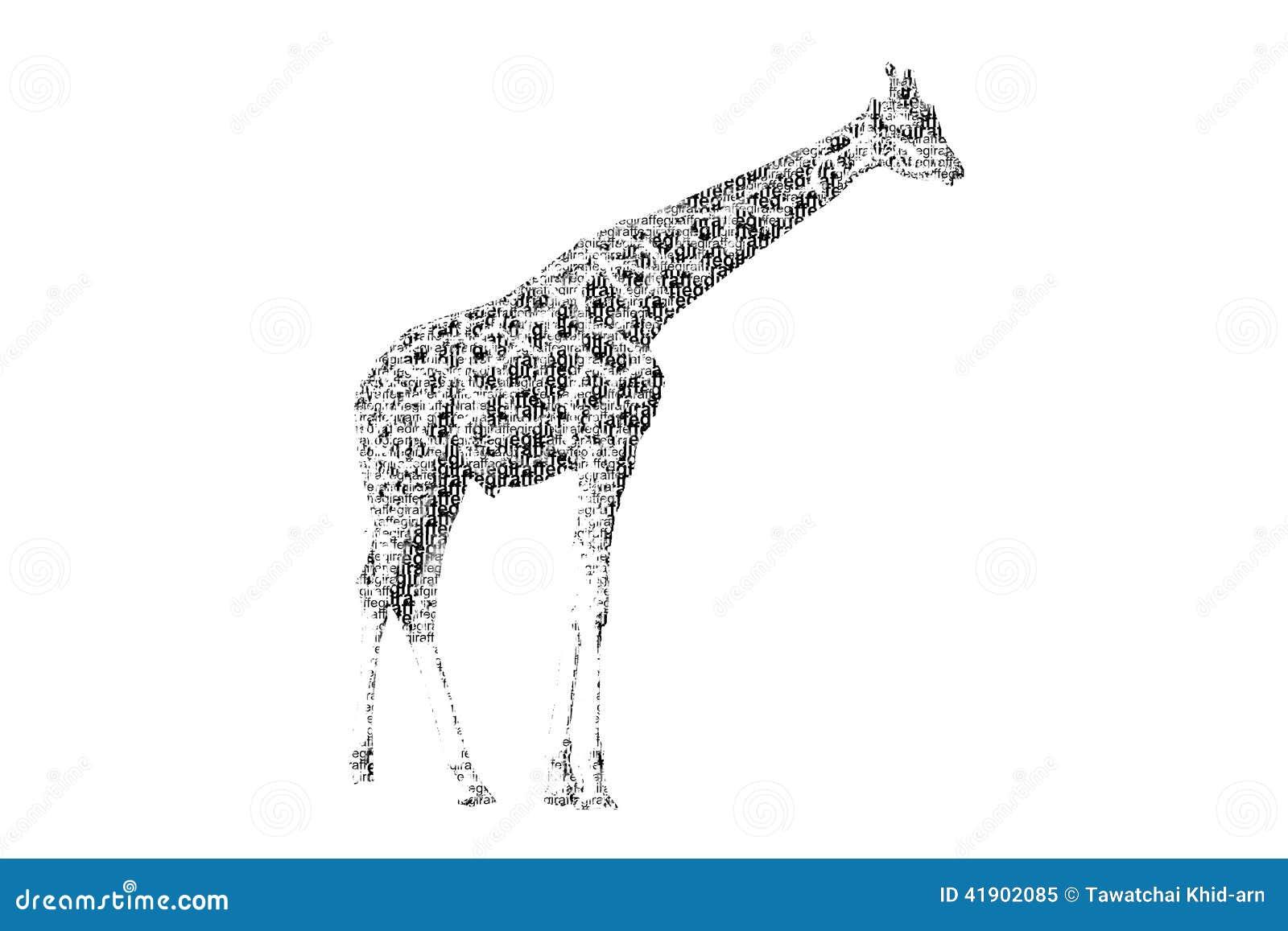 Redacte la jirafa mezclada para ser figura de la jirafa, con styl de la tipografía