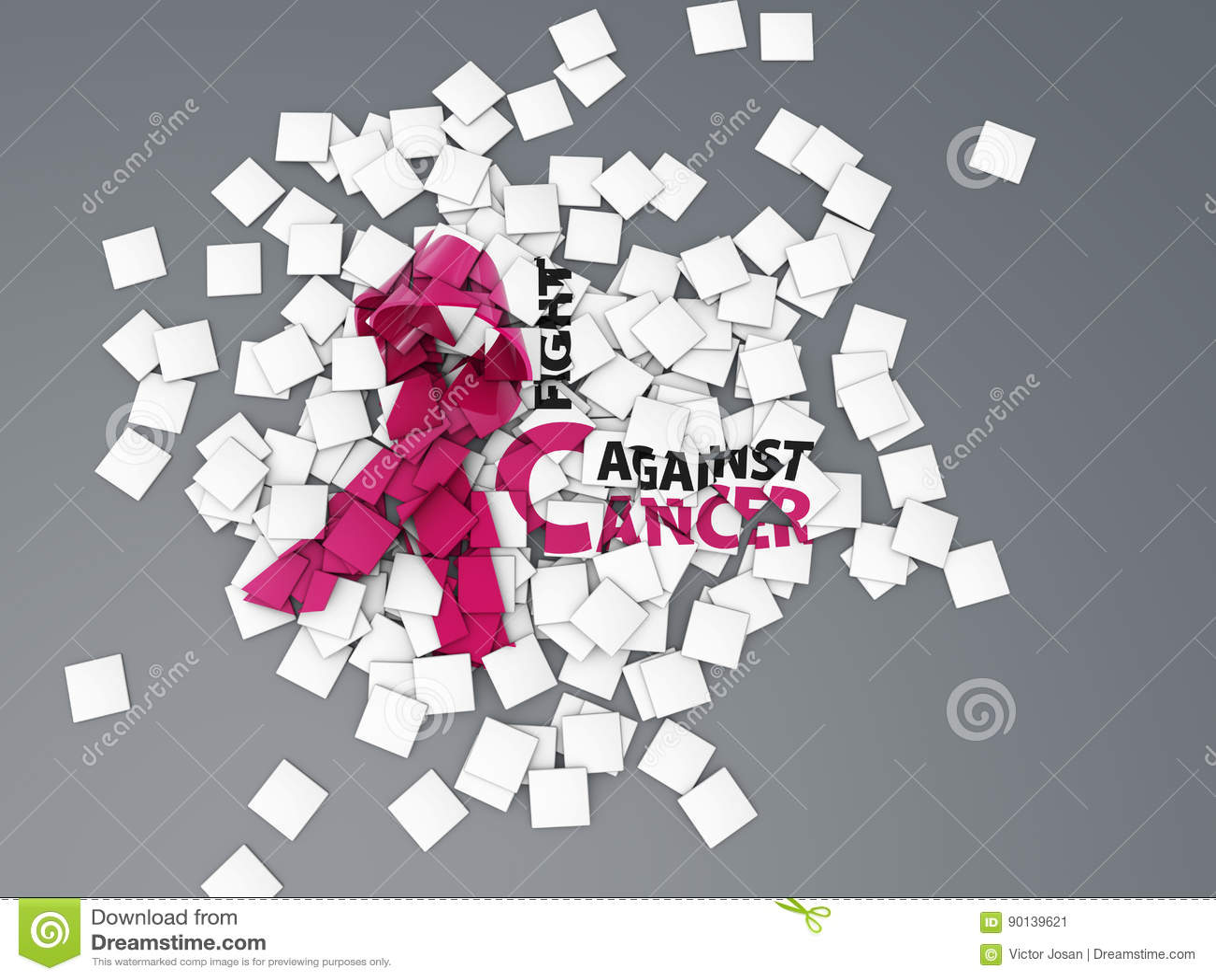 Redacte la lucha contra plano del concepto del cáncer, gris aislado ejemplo 3d
