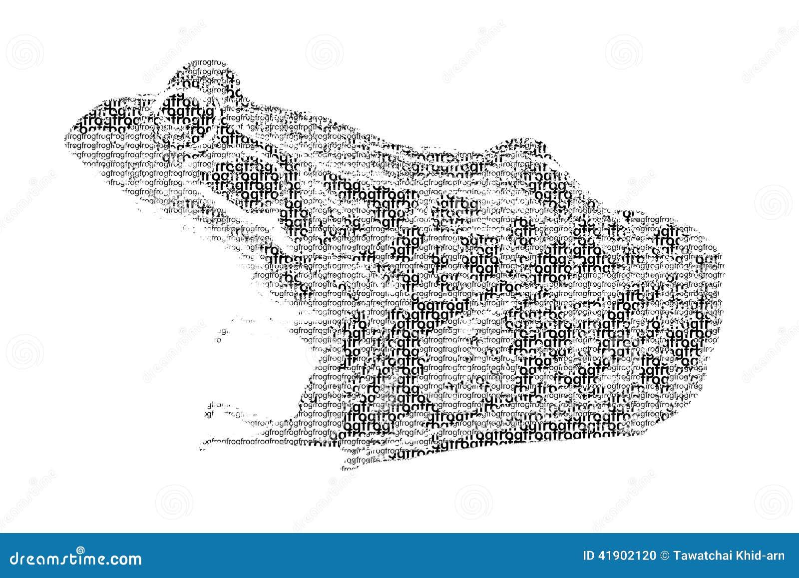 Redacte la rana mezclada para ser figura de la rana, con estilo de la tipografía, ISO