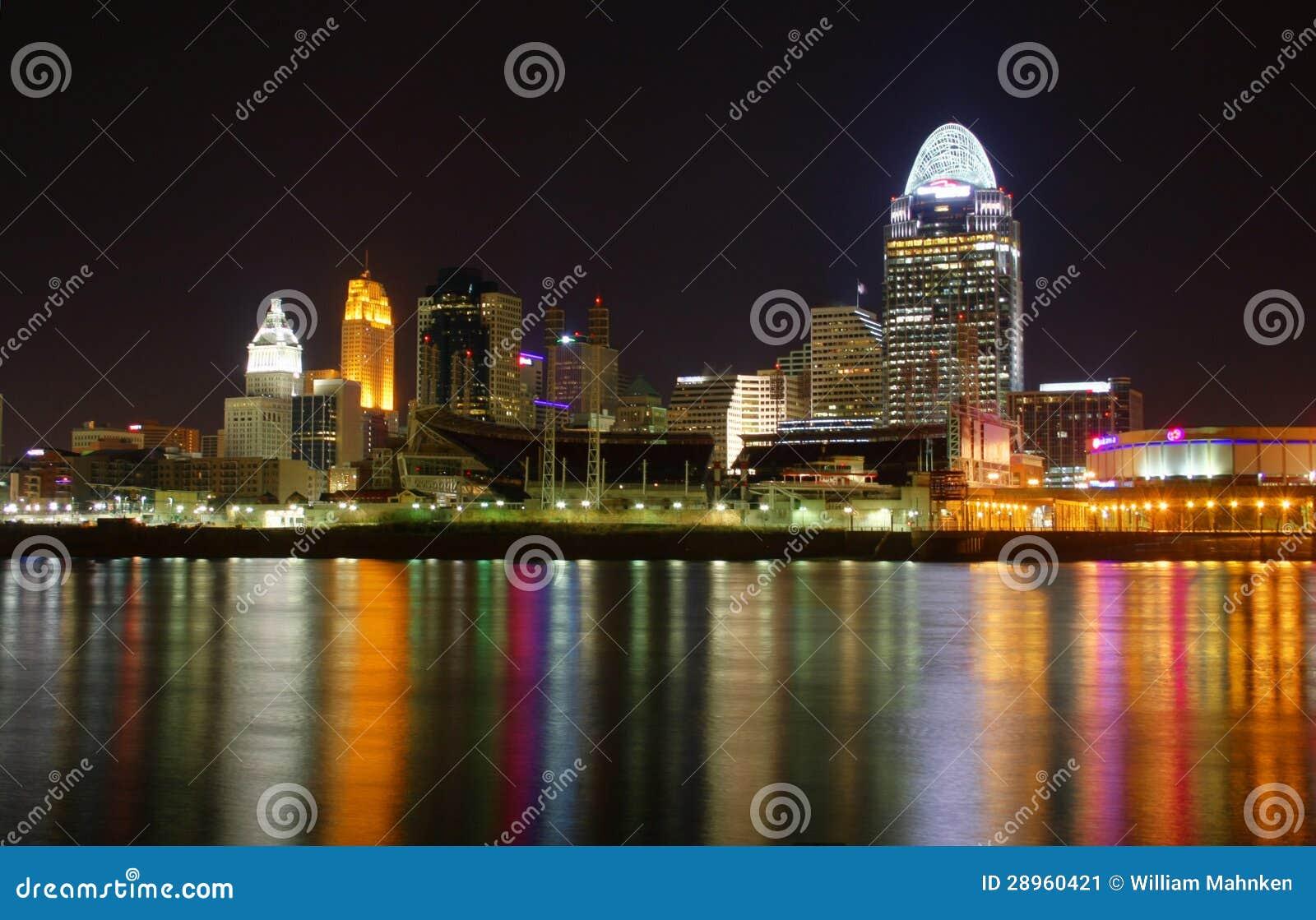 REDACTIE Cincinnati Ohio bij Nacht