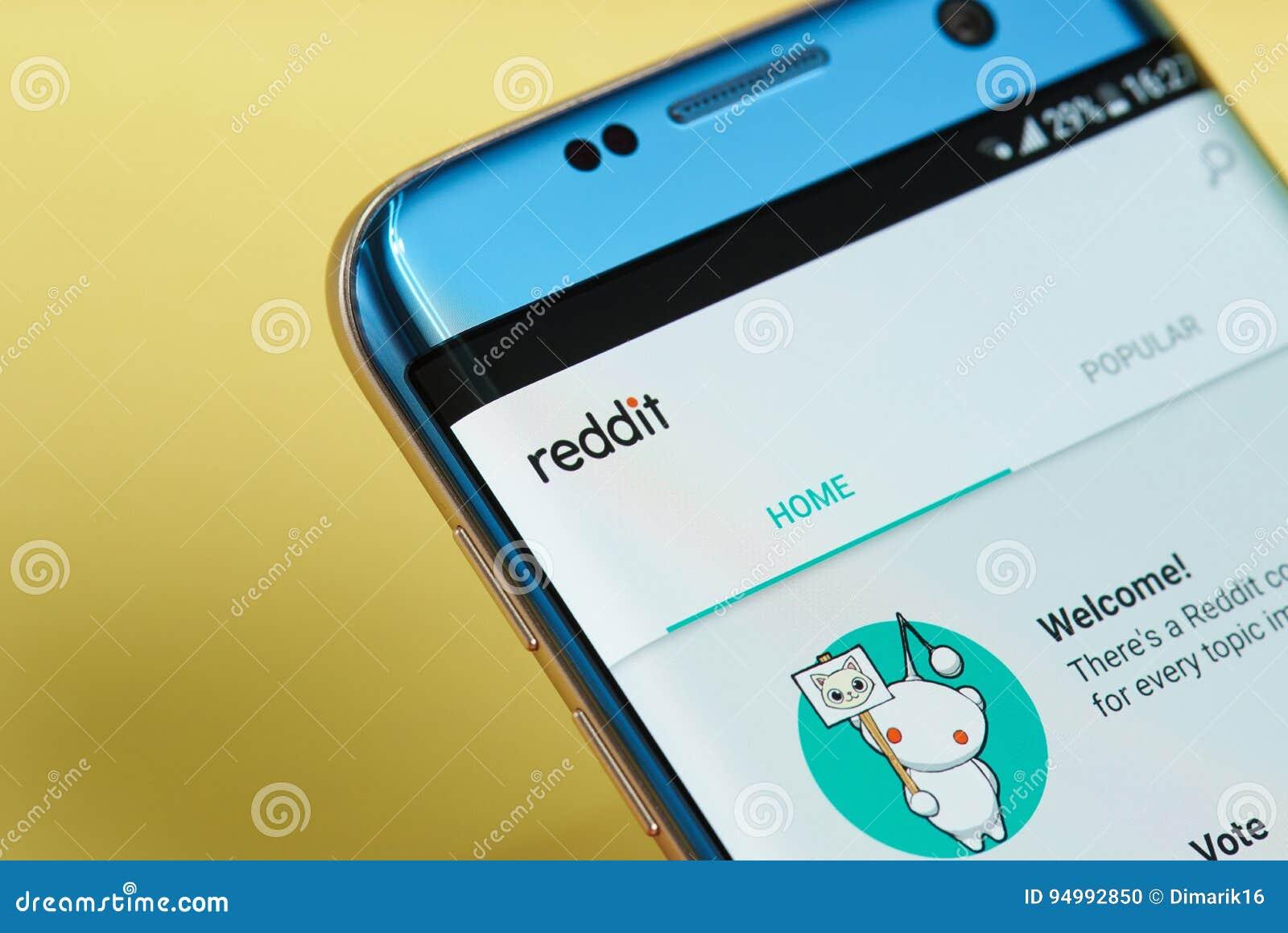 Reddit application menu editorial image  Image of device