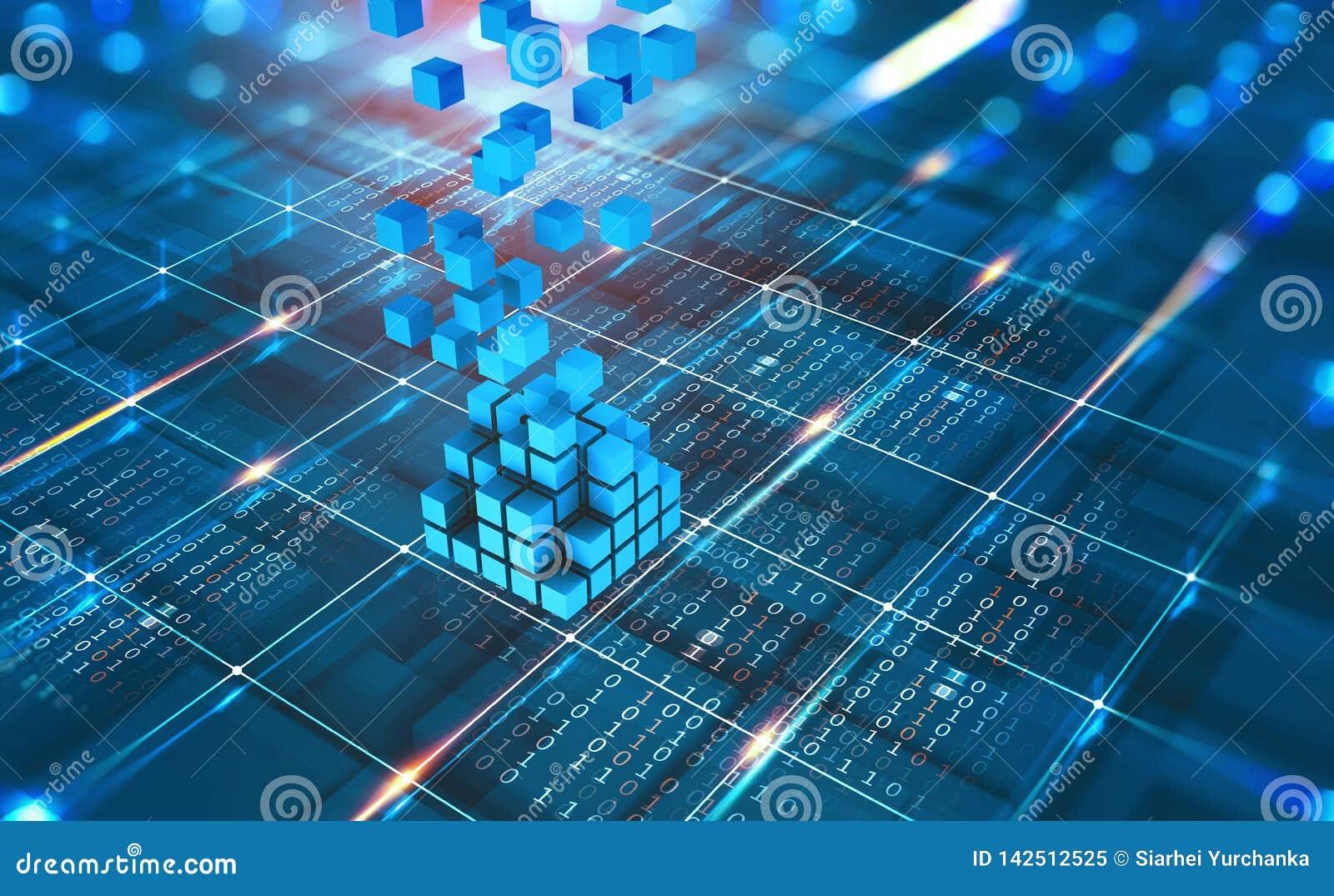 Rede abstrata de Blockchain do conceito Tecnologia de Fintech Transmissão de dados global da proteção e