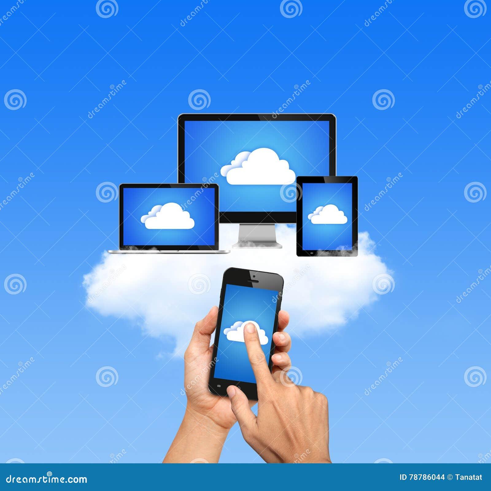 A rede de computação da nuvem conectou todos os dispositivos