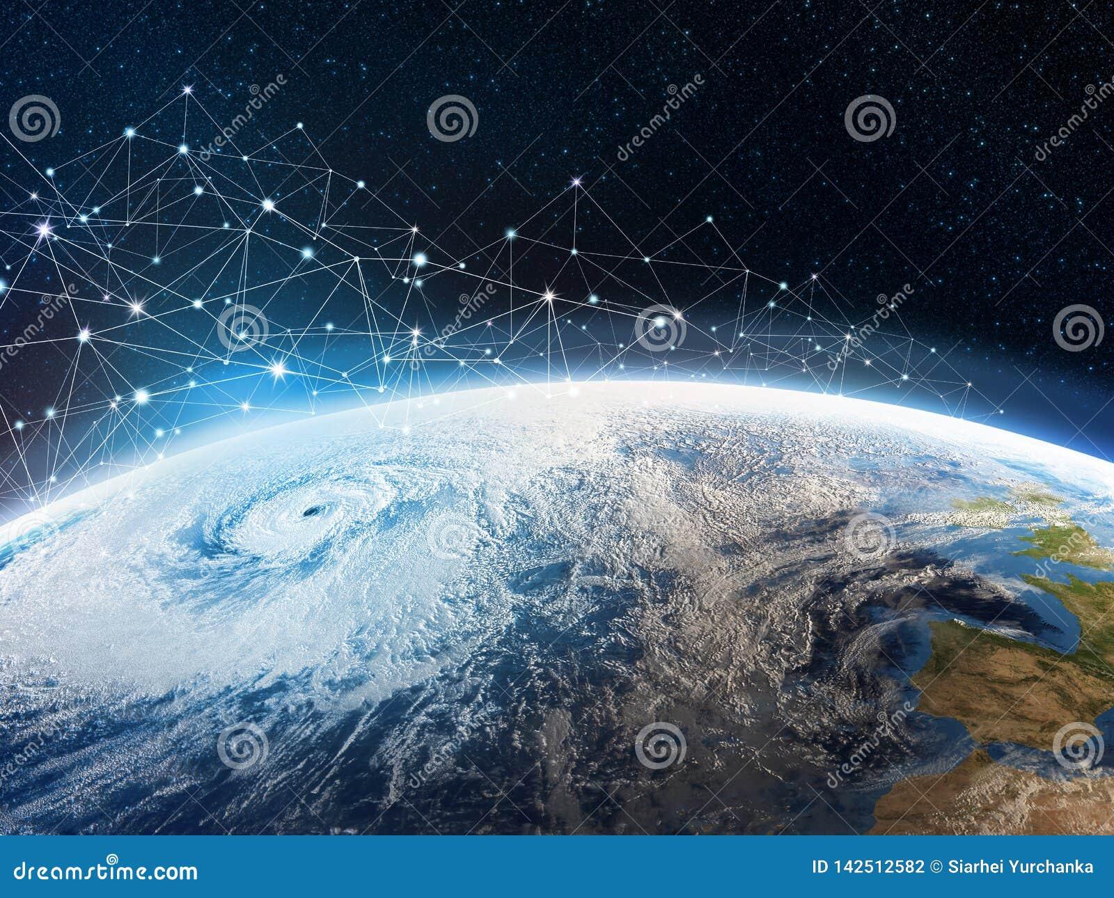 Rede de comunicação global através da terra do planeta Armazenamento dos dados no armazenamento da nuvem