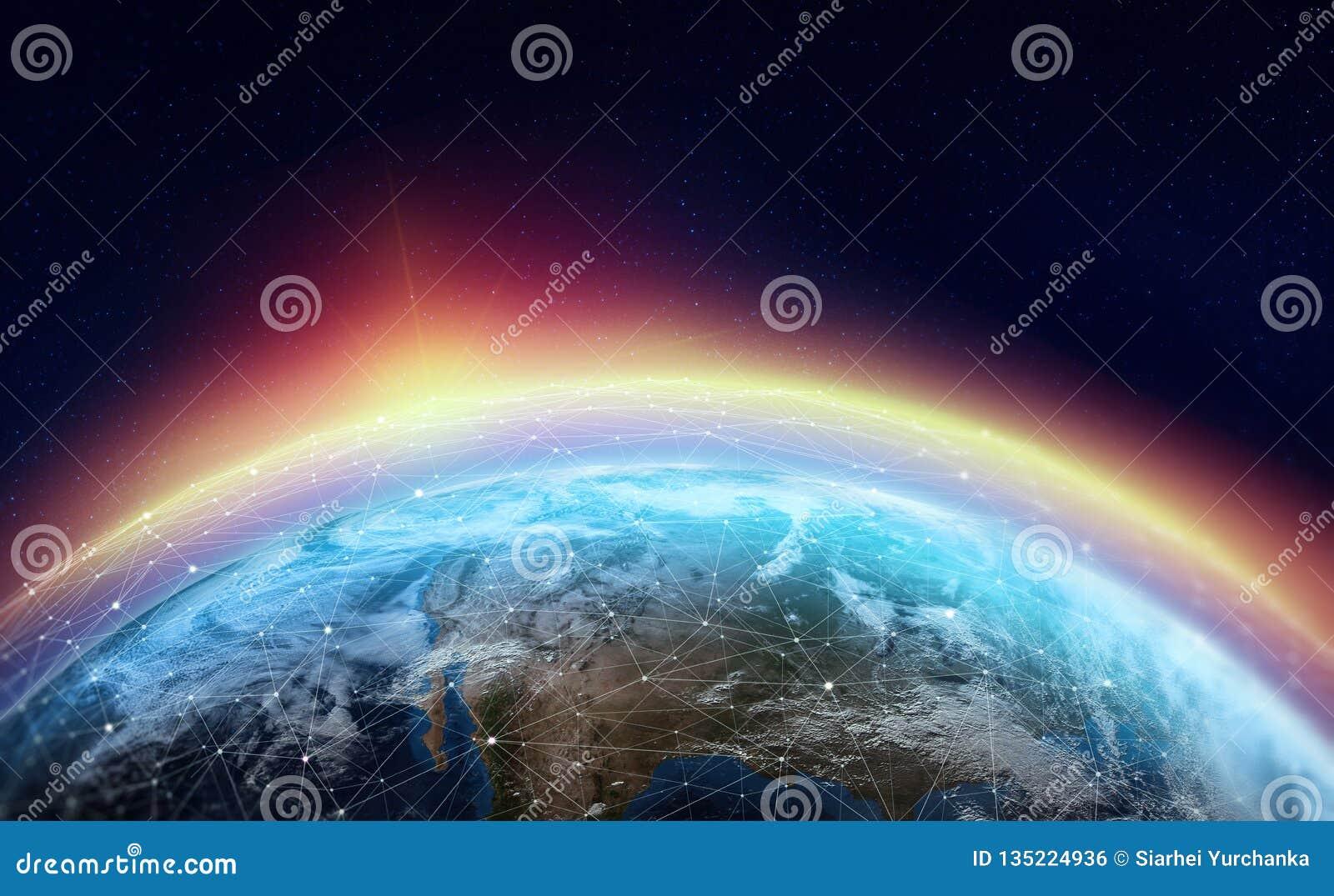 Rede global através do planeta A terra é cercada por uma Web de dados digitais