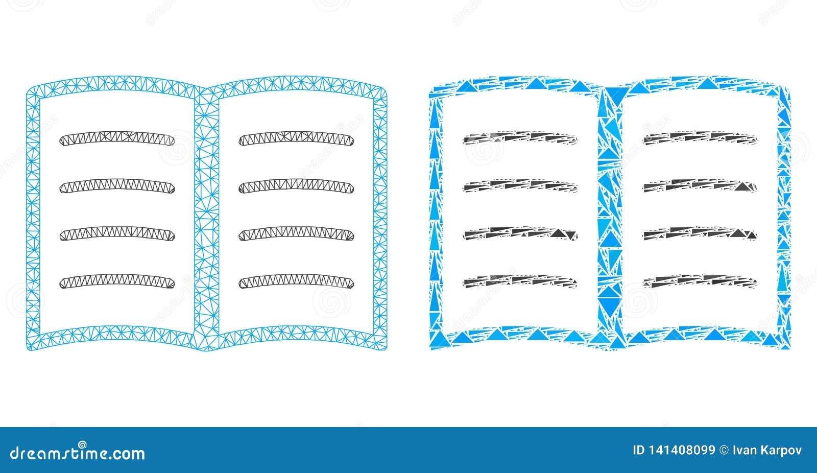 Rede poligonal Mesh Open Book e ícone do mosaico