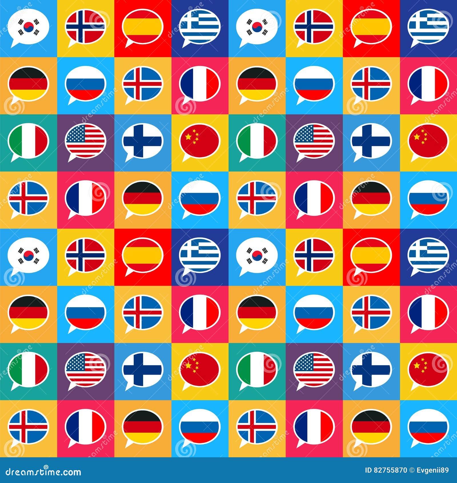 download rede sprudelt mit verschiedenen landflaggen in der flachen designart nahtloses muster vektor abbildung - Hochzeitsrede Muster