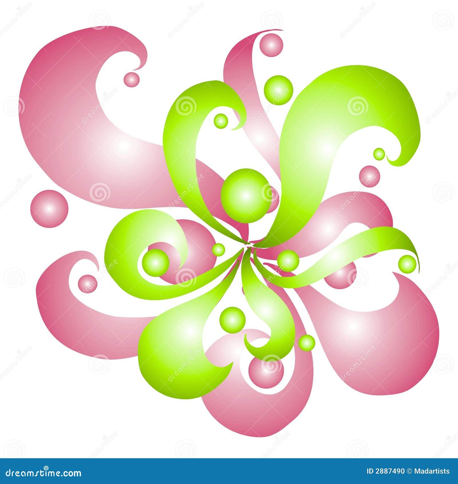 Redemoinhos e círculos cor-de-rosa do verde