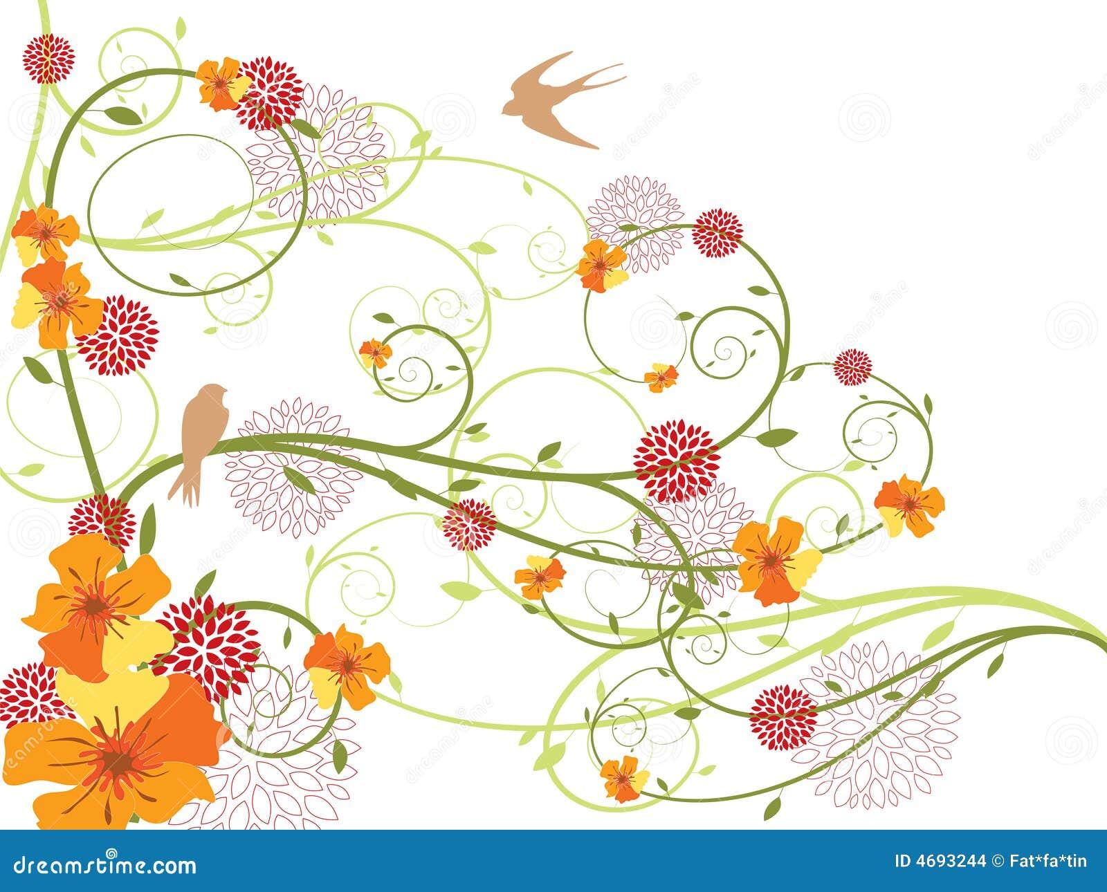 Redemoinhos florais amarelos e andorinhas da mola