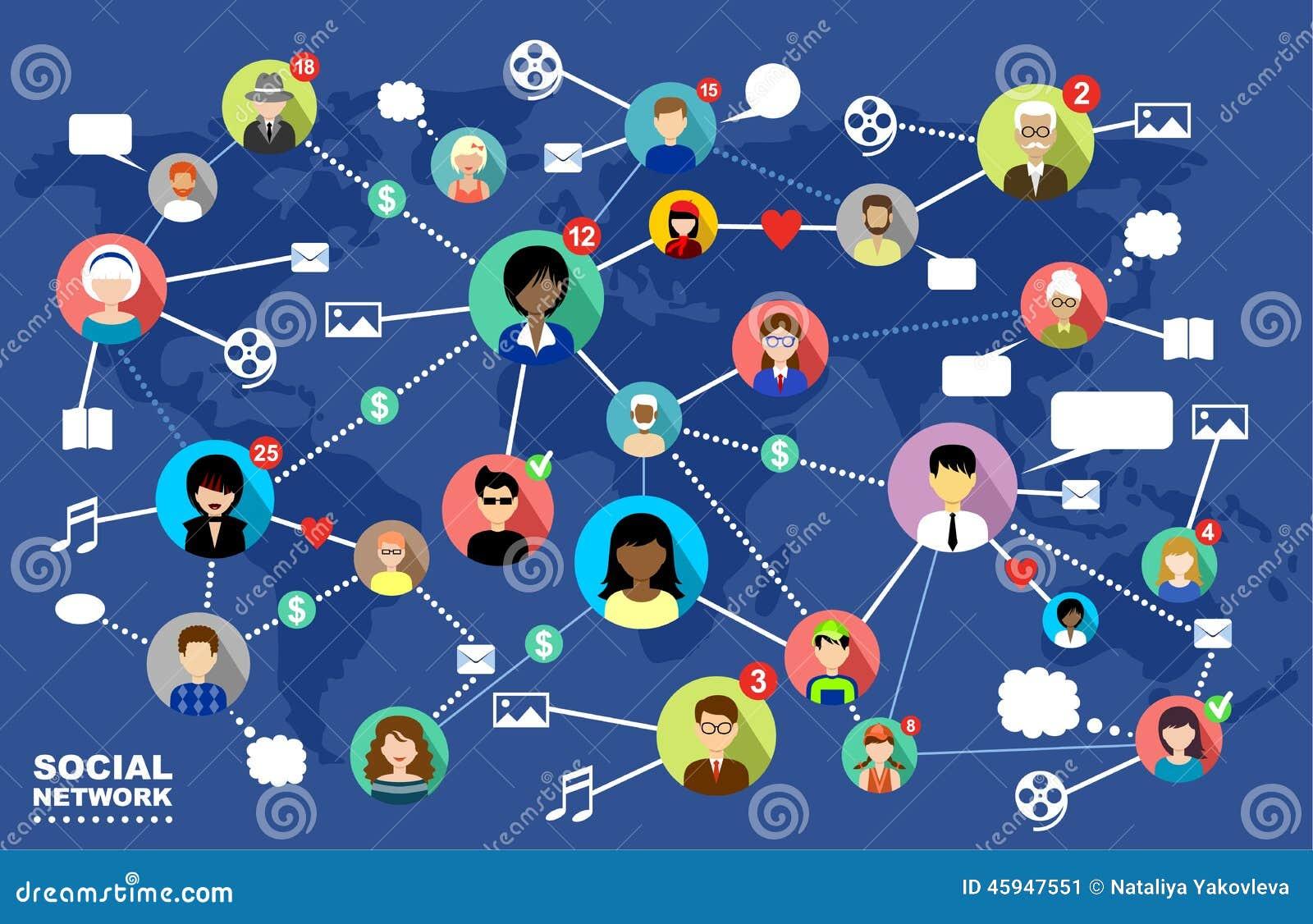 redes sociales comunicaci n de inter  vector ilustraci n