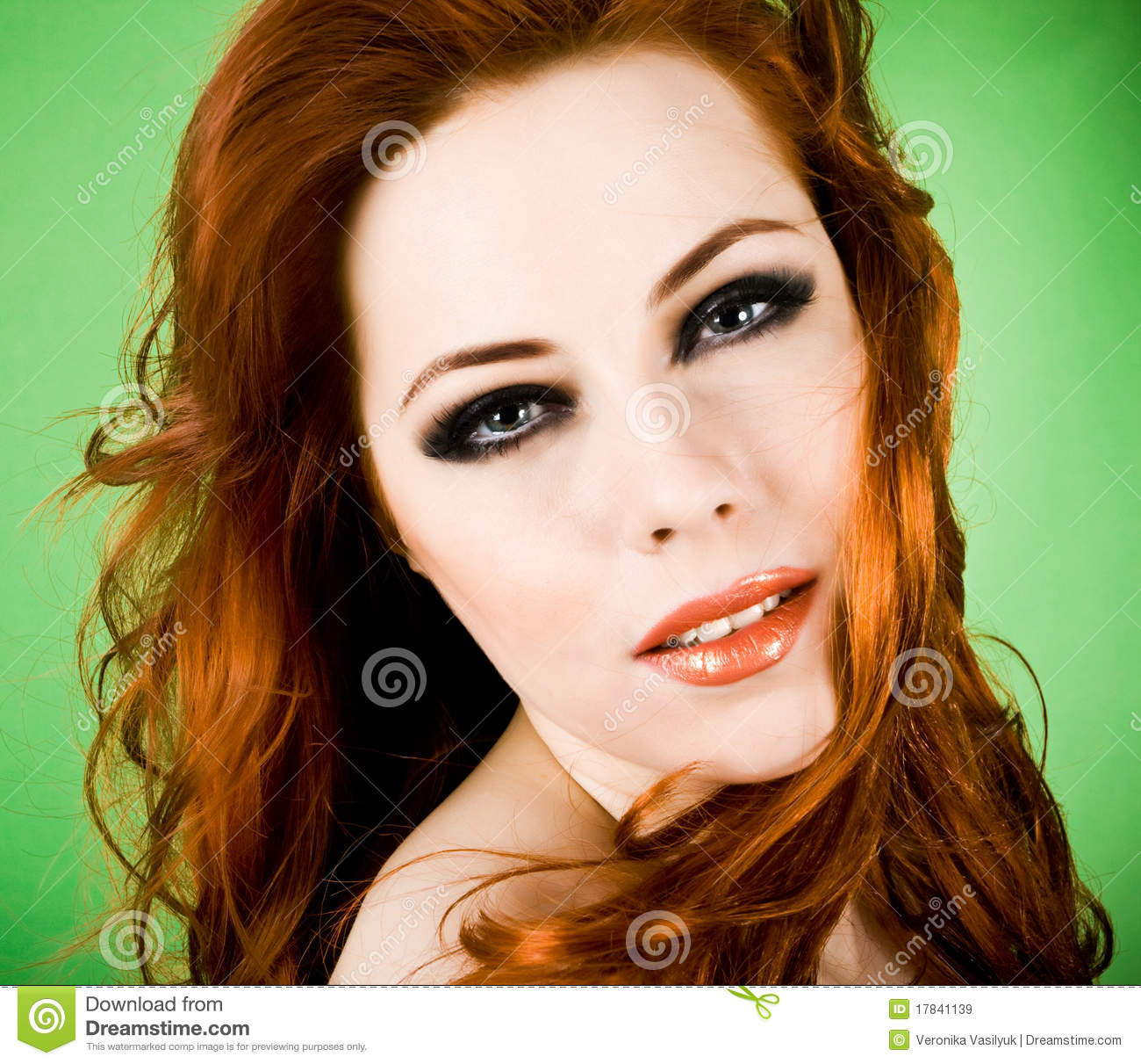 redhead beauty stock image. image of face, green, beauty - 17841139