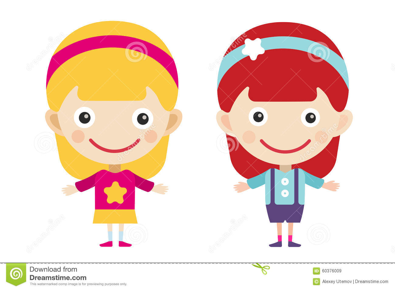 The dress blonde redhead - Redhead And Blonde Cartoon Vector Girls In Royalty Free Stock Images