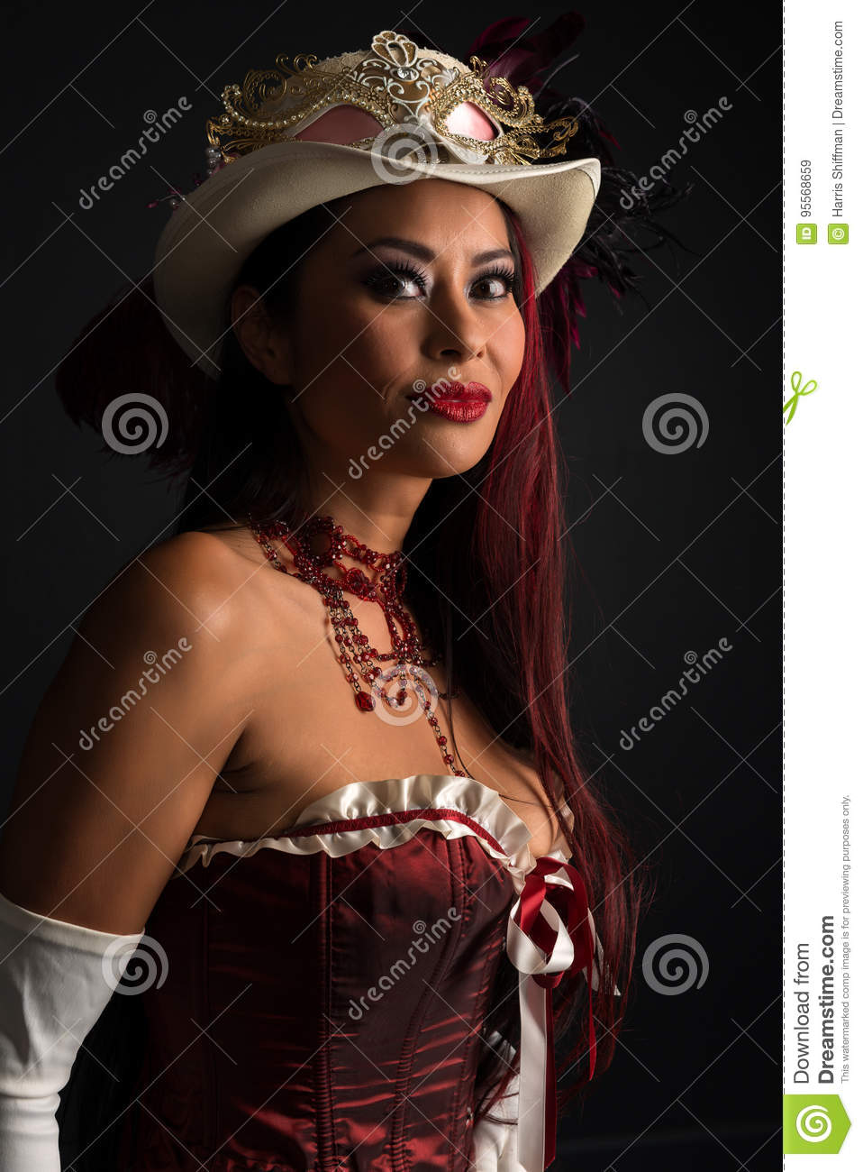 redhead at cosplay stock image. image of woman, corset - 95568659