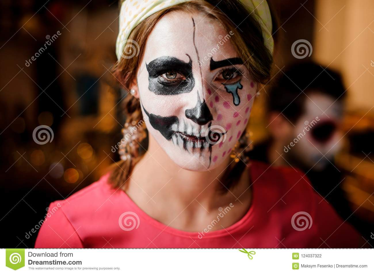 download redhead girl with adorable halloween makeup on the party stock photo image of adult