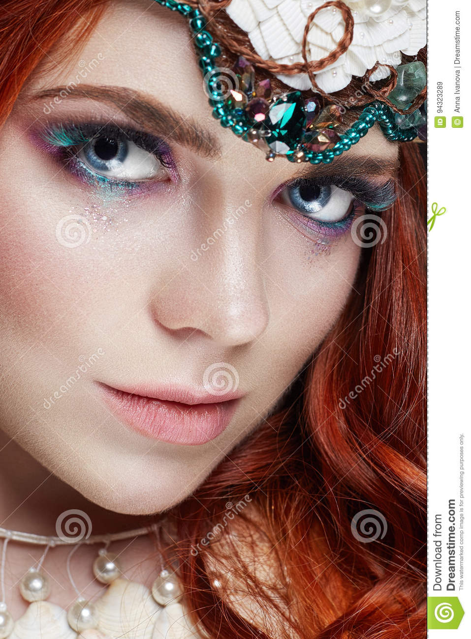 Redhead Girl With Bright Makeup And Big Lashes Mysterious Fairy
