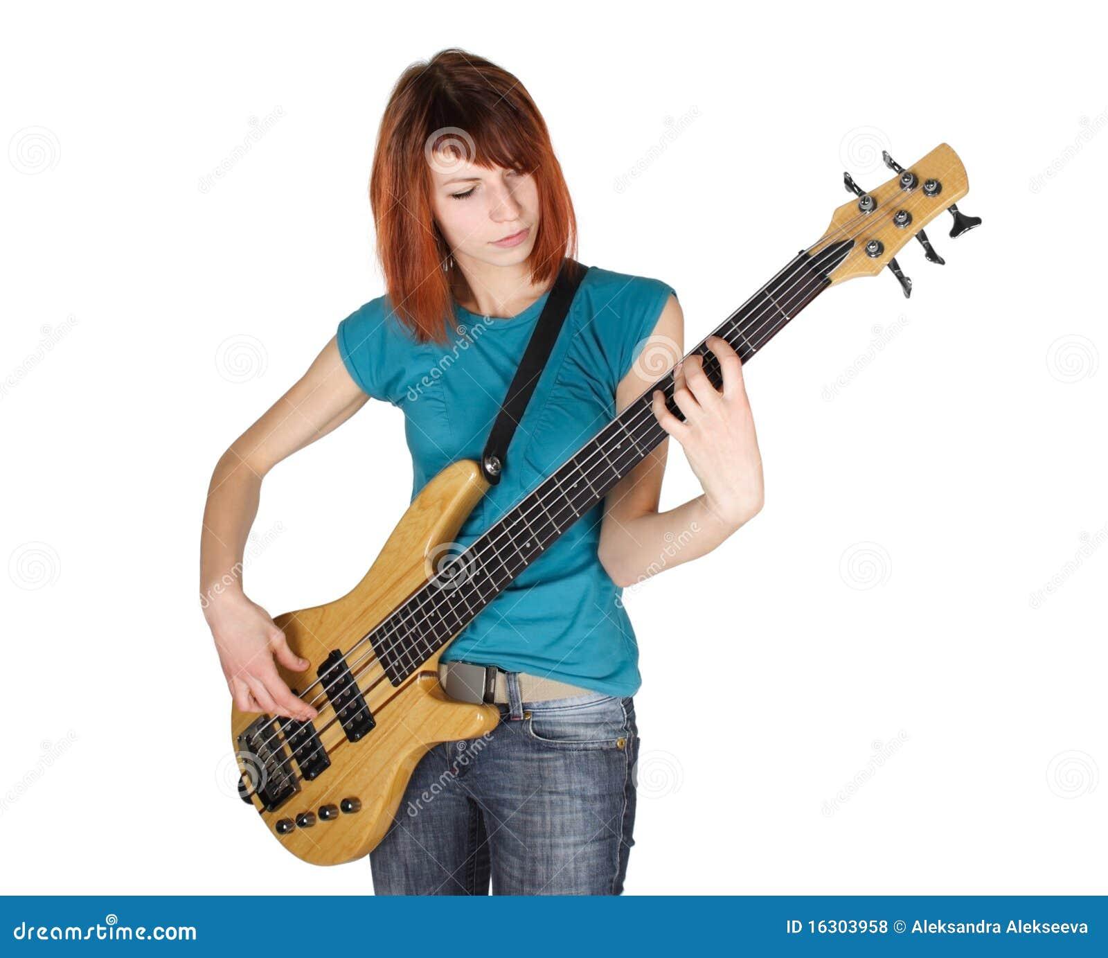 Redhead Girl Playing Bass Guitar Half Body Royalty Free