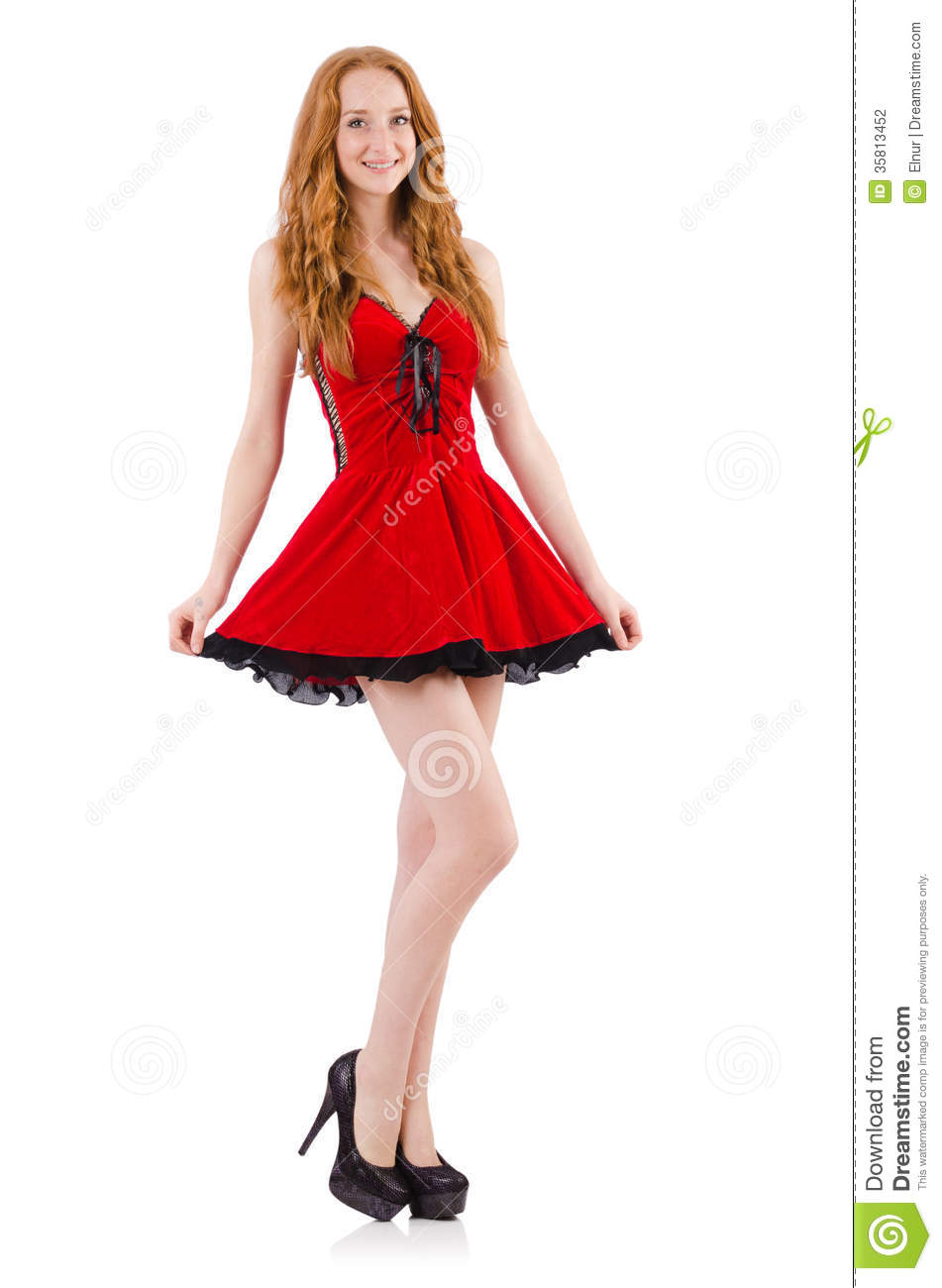 Redhead In Red Dress Stock Photography - Image: 35813452