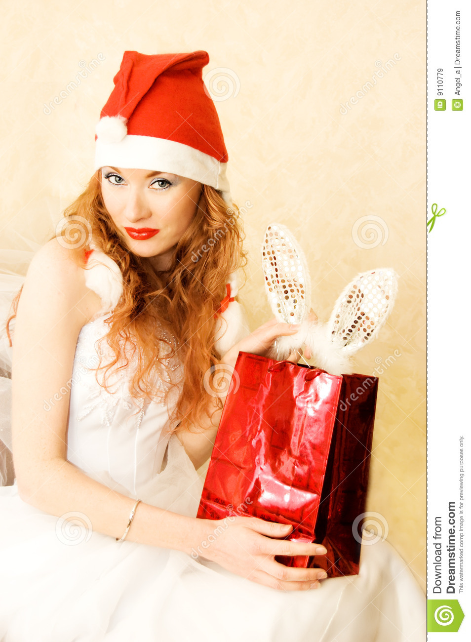 e790472a443b Redhead Santa helper stock image. Image of female