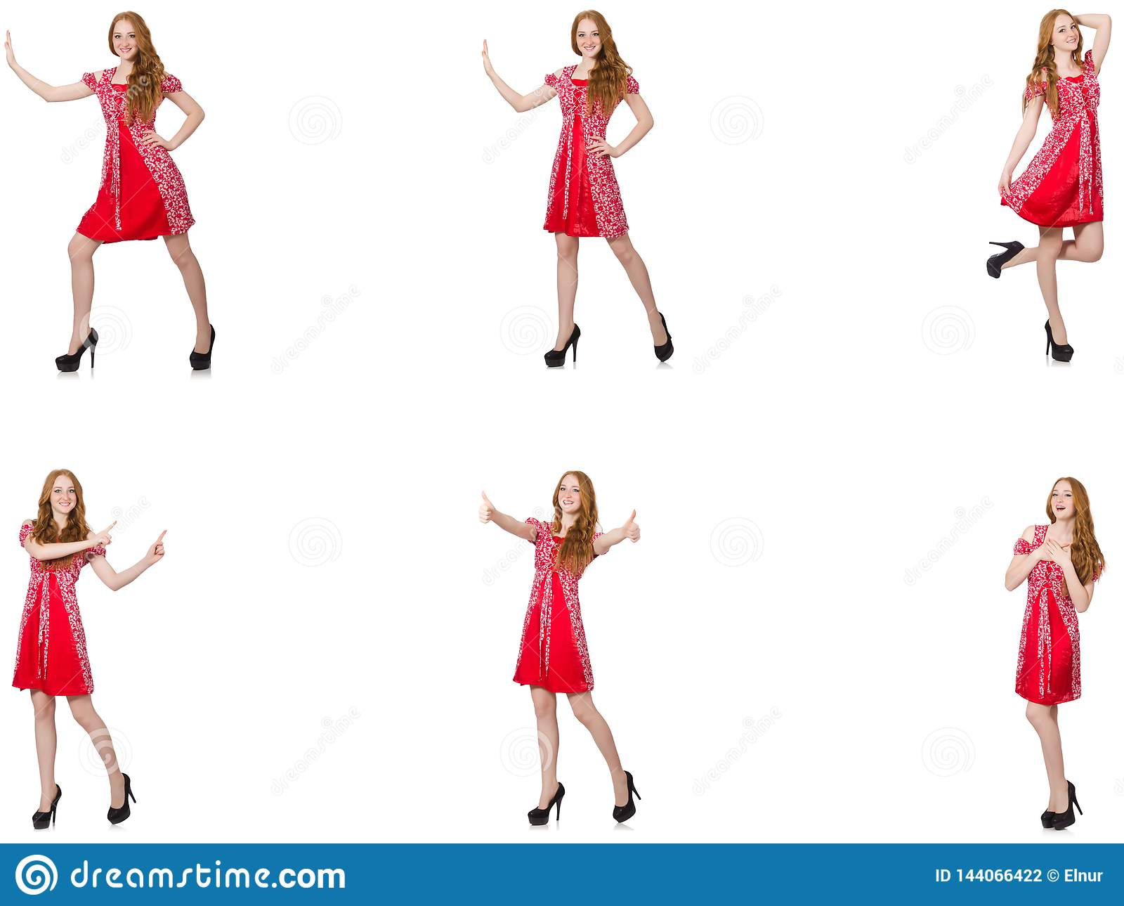 The redhead woman in red dress