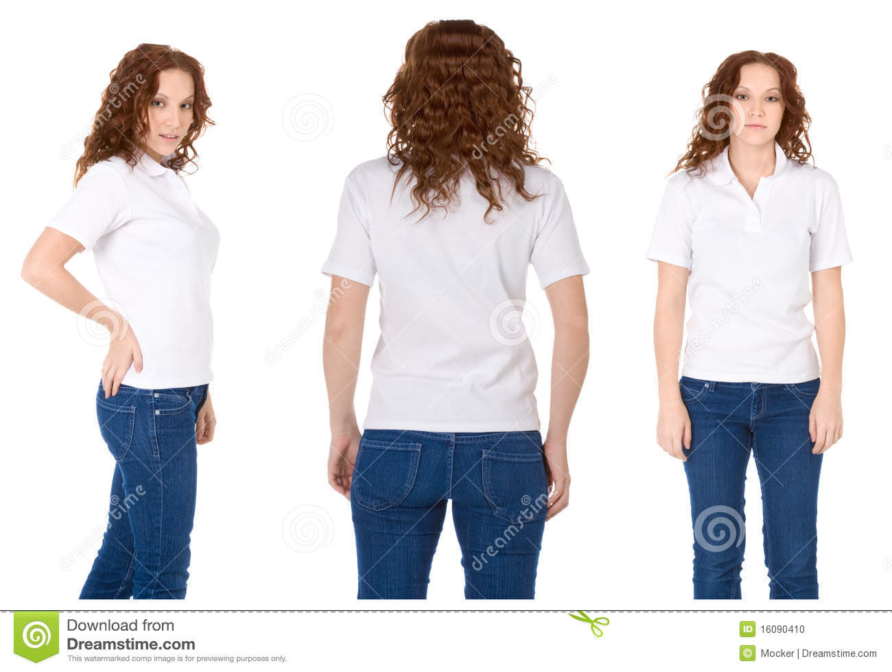 Redhead woman in white polo shirt and jeans stock photo for Polo shirt and jeans