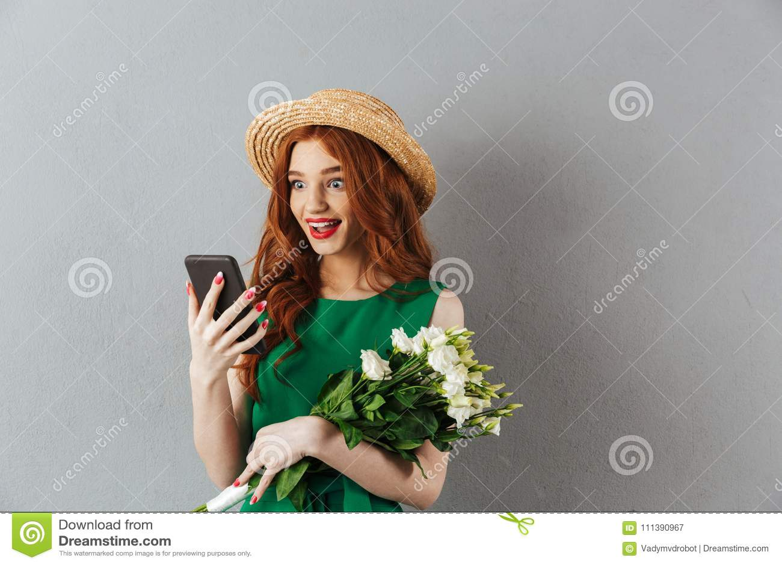 Redhead in flower hat