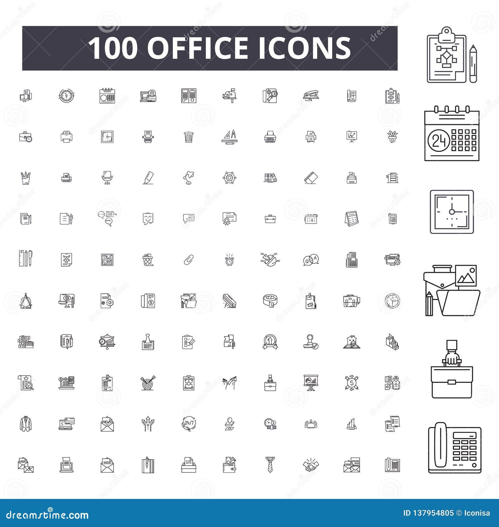 Redigerbar linje symboler, uppsättning för 100 vektor, samling för kontor Illustrationer för kontorssvartöversikt, tecken, symbol