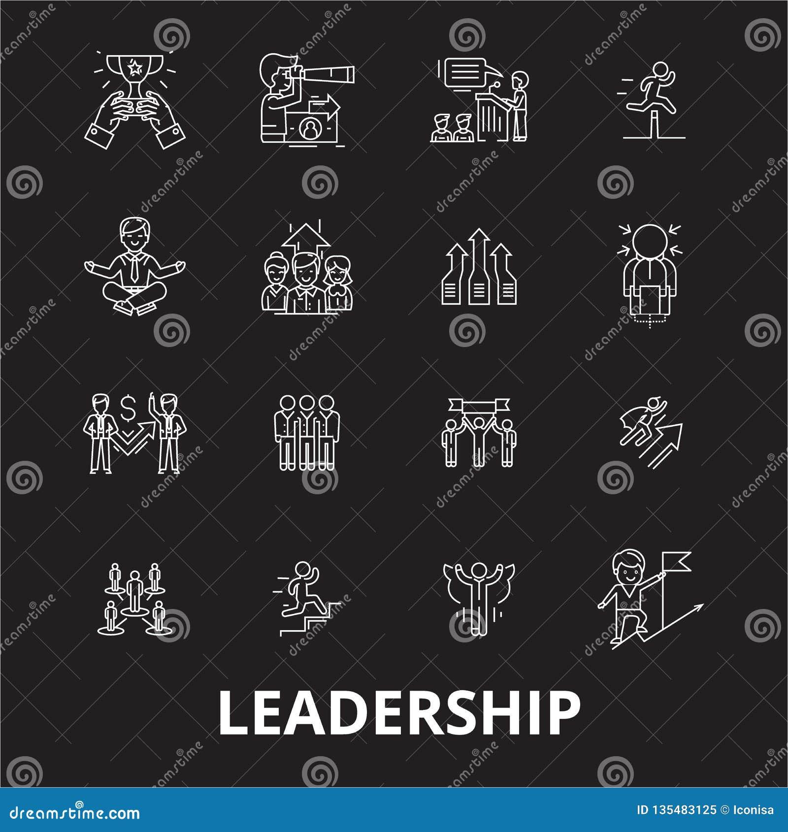 Redigerbar linje symbolsvektoruppsättning för ledarskap på svart bakgrund Vita översiktsillustrationer för ledarskap, tecken, sym
