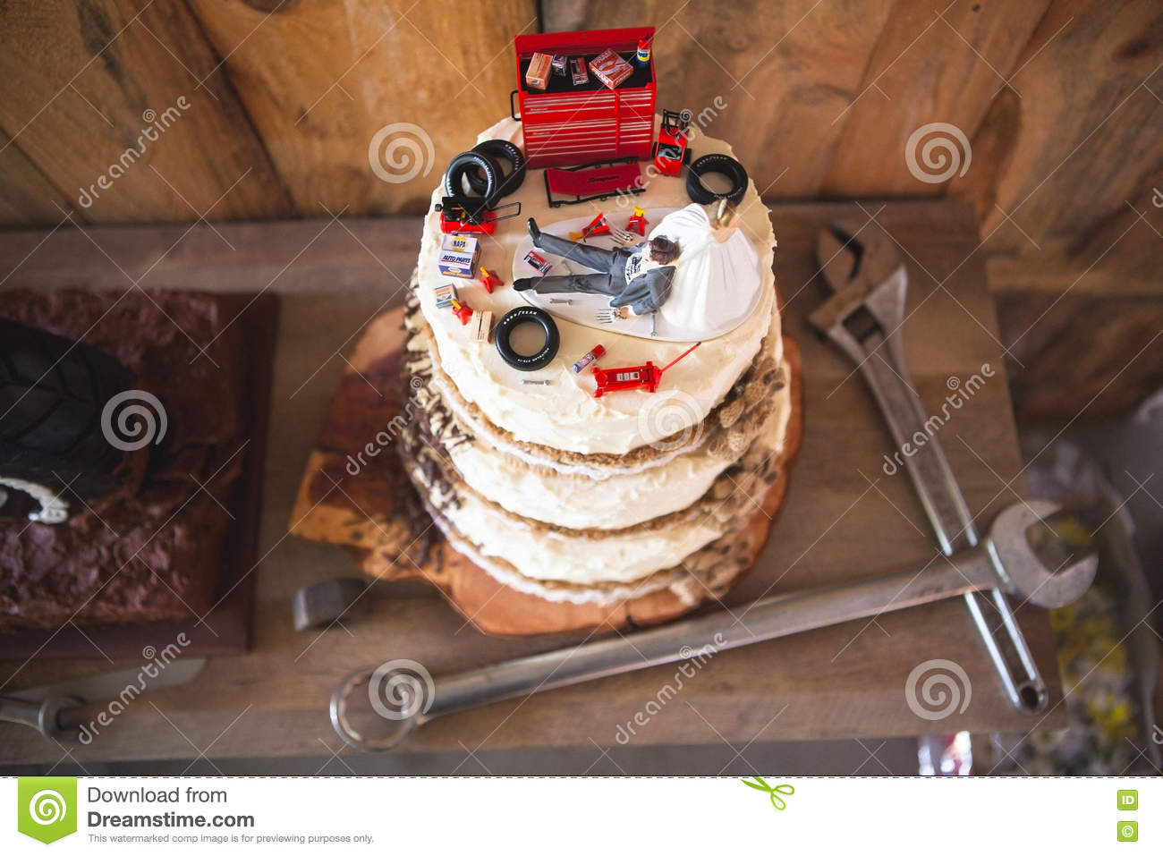 Marvelous Redneck Wedding Cake Topper With Mechanic Groom Editorial Stock Funny Birthday Cards Online Inifofree Goldxyz