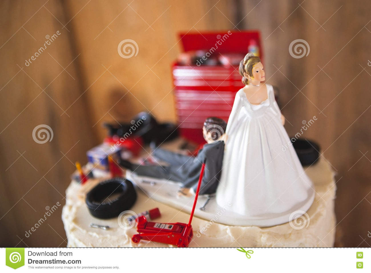 Redneck Wedding Cakes | Redneck Wedding Cake Topper With Mechanic Groom Stock Photo Image