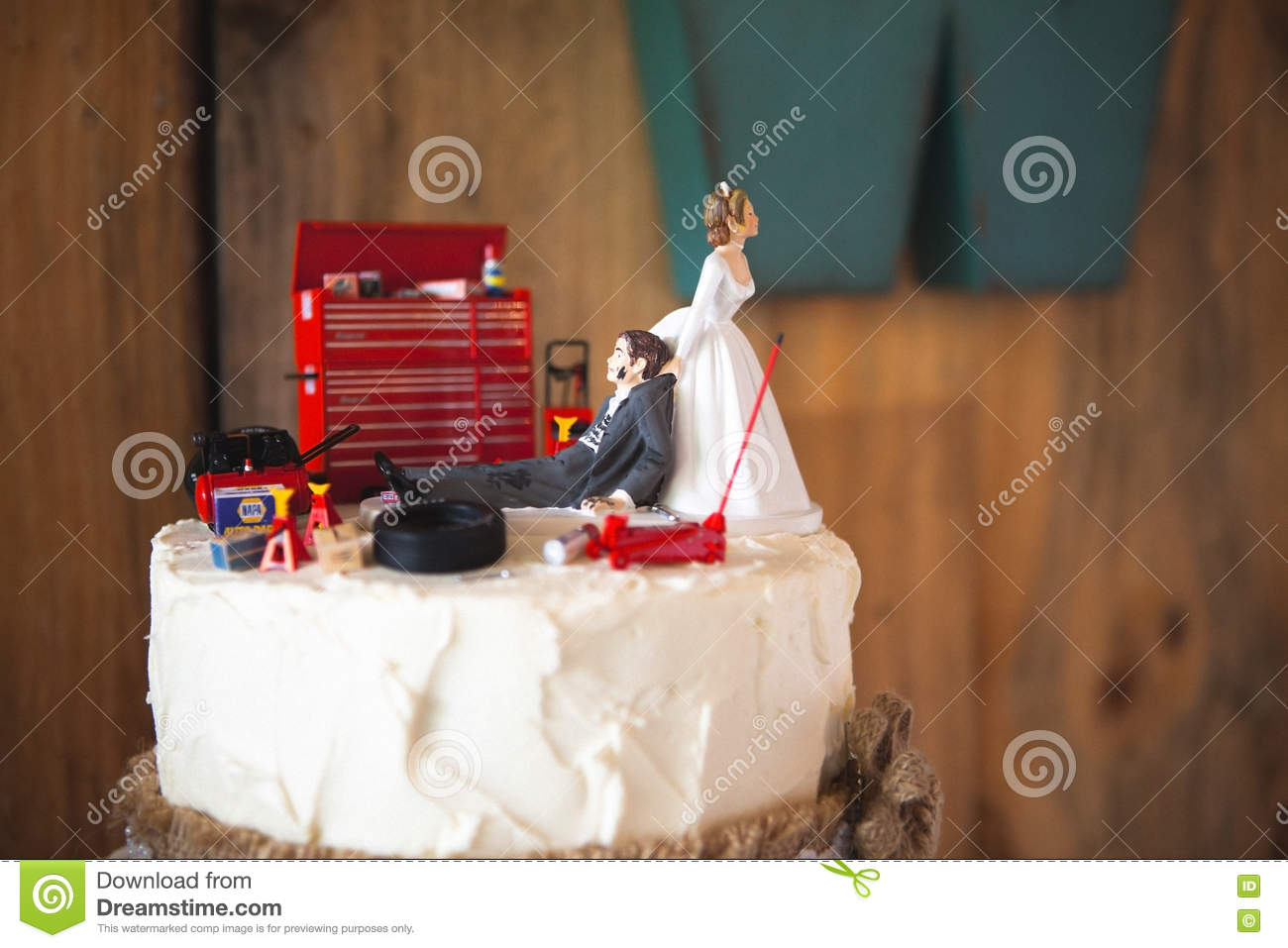 Admirable Redneck Wedding Cake Topper With Mechanic Groom Editorial Stock Funny Birthday Cards Online Inifofree Goldxyz