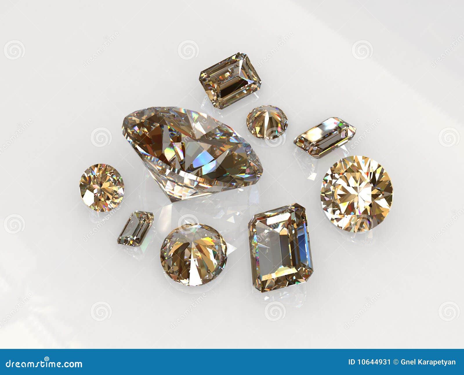 Redondo bonito ajustado e a esmeralda cortaram pedras do diamante
