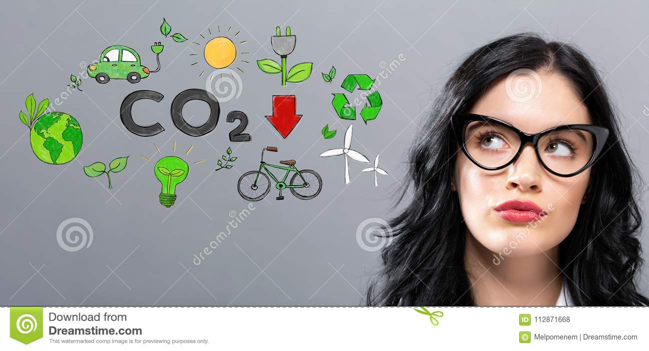 Reduce CO2 with young businesswoman