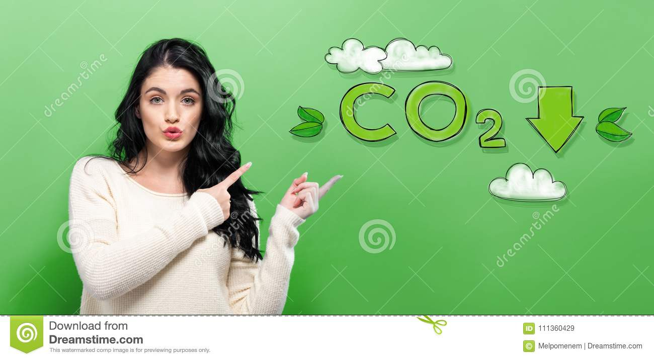 Reduce CO2 with young woman