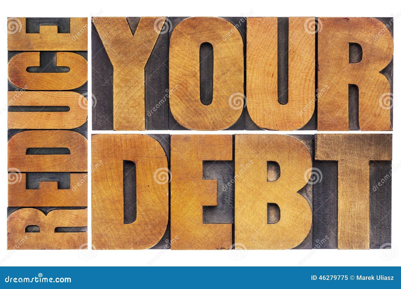 reduce your debt stock photo