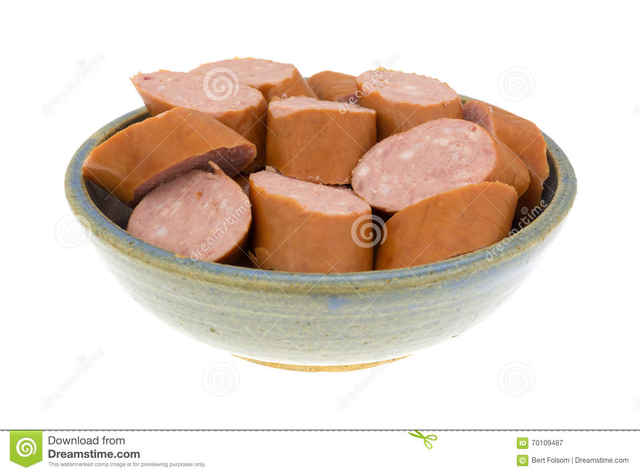 reduced calorie kielbasa sausage slices in a bowl stock image