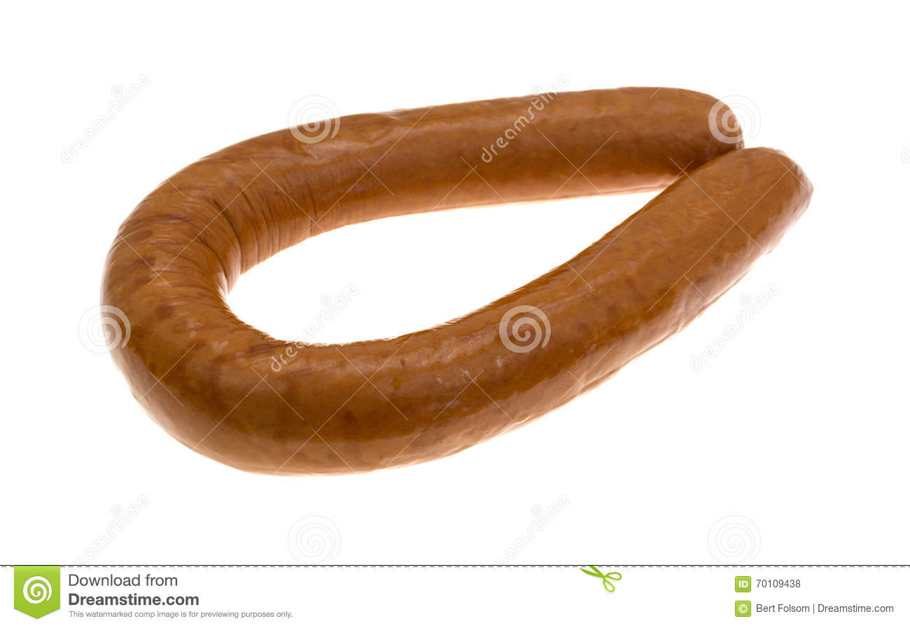 reduced calorie kielbasa sausage on a white background stock photo