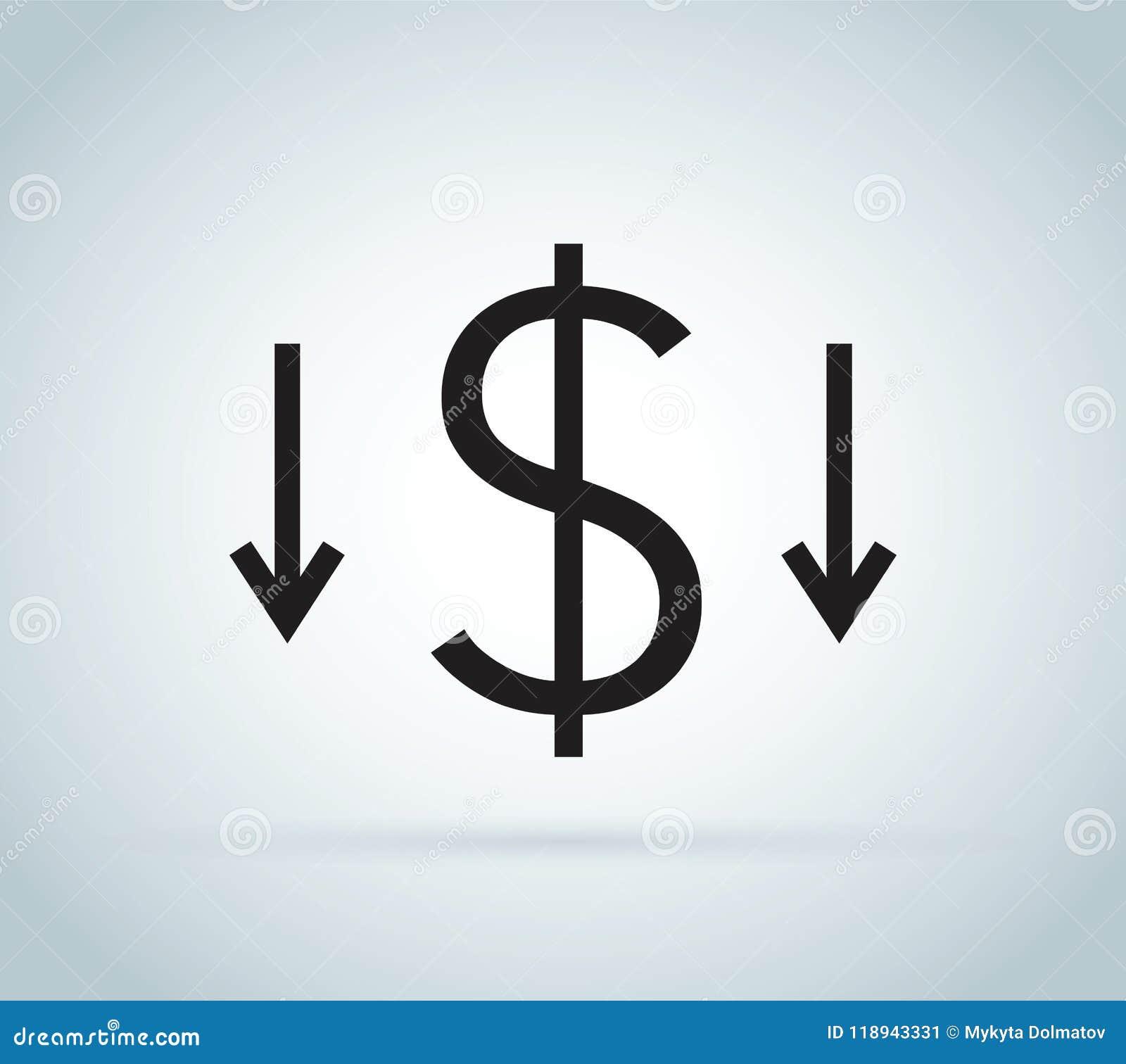 Reduzca el icono de los costes Clip art del dinero aislado en el fondo blanco Concepto de la reducción de costes Coste abajo