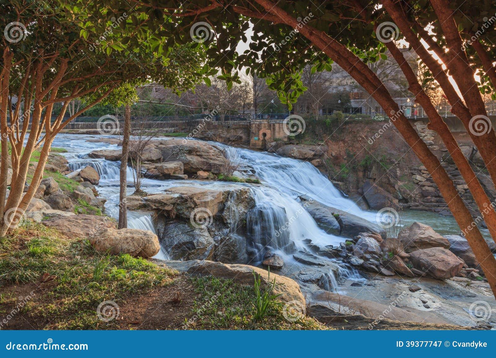 Reedy Waterfalls Greenville South Carolina SC Stock Photo Image - Sc waterfalls map