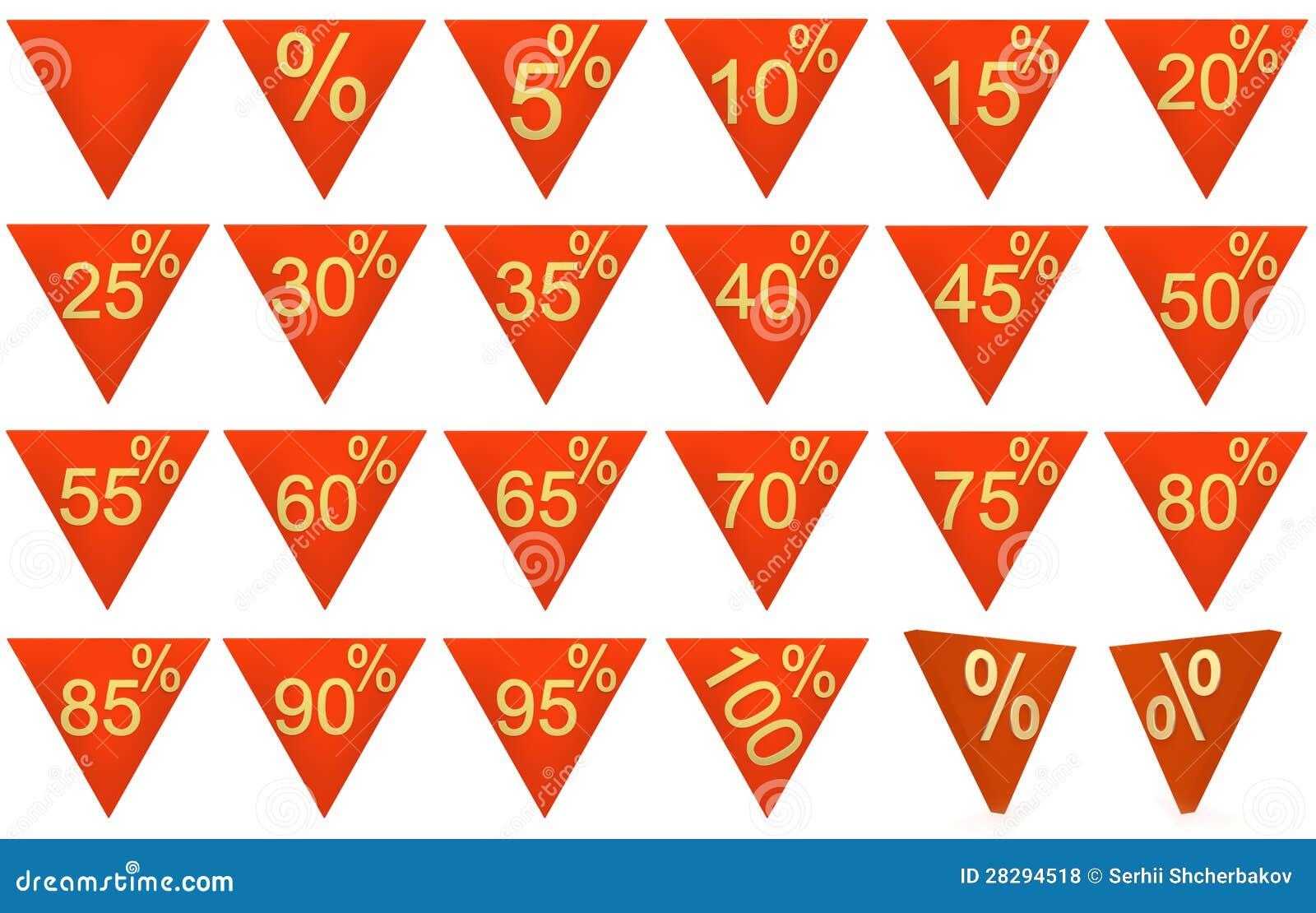 Reeks 3D teruggegeven verkoopsymbolen, rood, goud