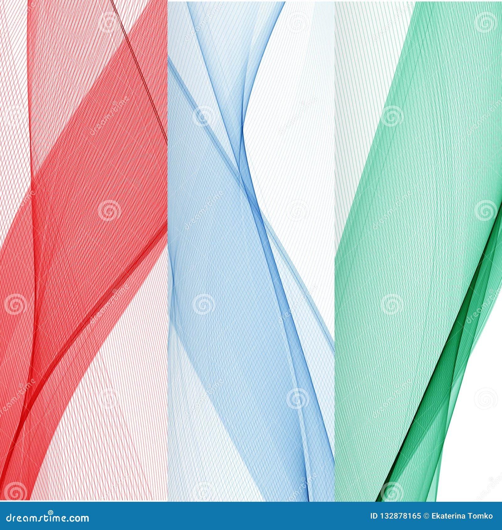 Reeks abstracte banners gekleurde golven Rood, Blauw, Groen